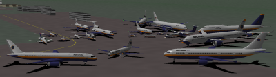 A300, 757-200, and YS-11 up front