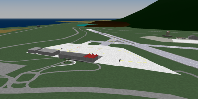 Pantelleria Airport terminal and ramp area, including the landside. The ramp to the departures level is driveable.