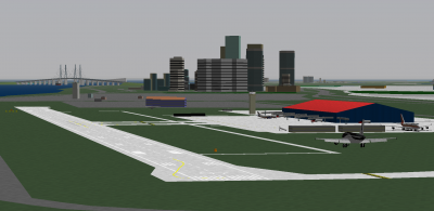 Gennaro on short final about to put Penguin 202 down on RWY 07 at Ocaso International Airport. Also notice Pat in the NCA 737-500, and me parked at OCA's lone widebody cargo bay in the Kalitta 747-400F. In the back ground of course is Ocaso's downtown and the Twin Bridges, as well as a few other buildings in the eastern part of the city. Not visible here are the Borrador Hills just to the west of OCA (and the apartments and buildings on top of the flattened part), Ocaso del Norte and Rincon Island.