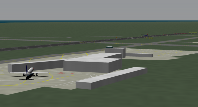 I'm landing the Regional Dash 8 while Turbofan is parked in the Global A321.