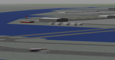 Me landing the Concorde at Haneda with Tfan in the background.