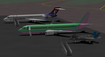 Turbofan, Decaff, and I, parked at HNL after flying in from Hilo.