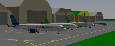 Thomascook 767 and Scorponox Citilink A320 NEO PK-GTA on Thomas Field King&Co Facility Airport