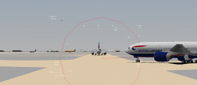 HUD view from a Regional Airways 318-100 as a BA 772ER joins the queue for RWY 9L.