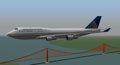 Simple United 747 over the bay.