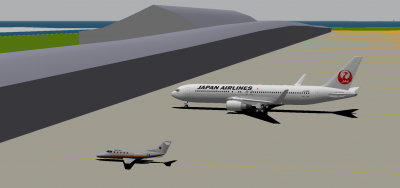 Decaff in the NCA Hawker 400 and me in the JAL 763ER.