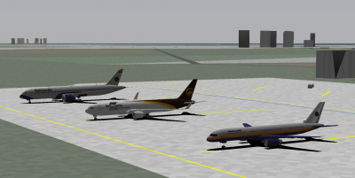 It's a Boeing party! Me in the NCA 789, decaff in the UPS 763ERF and Patrick in the NCA 752