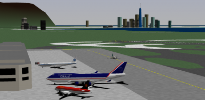 I flew the Global 747-400 from MLA along with Daishi (Pan Am 707-300 Intercontinental), and decaff (Stellar Express CS 100). acf42's on his way out to RWY 04. In the background of course is the Mandiola skyline and Chateau Hills, with the business park in the foreground.
