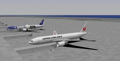 Decaff and I starting out at HND (decaff flying the Star Wars 789, me the JAL 772).