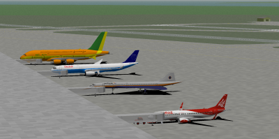 A fun Friday Night (Saturday morning for our friend from the far east, Hornet ;) ) from KOA to SEA in G2S. Seen here from smallest to largest: Hornet, decaff, me and Thomas Cook_21 (yes, I am aware that should be the new 388 and not the old one, need to upgrade my packs :P ).