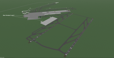 The new runway 18R-36L (10,000 ft. X 200 ft.) on the right side of the screenshot, and associated taxiways. Looking SE.