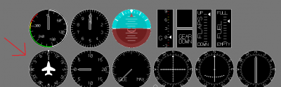 The compass as it appears on the instrument panel.