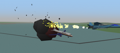 Vince's plane on fire from shrapnel after attacking me with a missile.
