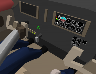 Buttons, levers, and gauges.